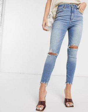 Синие выбеленные джинсы с рваной отделкой на коленях -Синий Abercrombie & Fitch