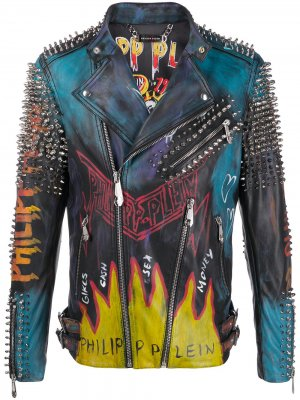 Байкерская куртка Evil Smile Philipp Plein. Цвет: черный