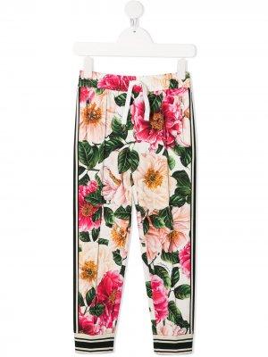 Спортивные брюки с цветочным принтом Dolce & Gabbana Kids. Цвет: нейтральные цвета