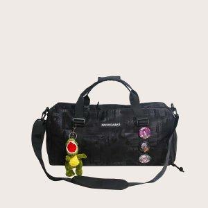 Мужская дорожная сумка со значком и подвеской для сумки SHEIN. Цвет: чёрный