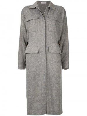 Твидовое платье-рубашка Seya.. Цвет: серый