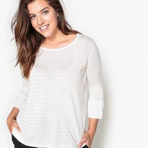 Пуловер в тонкую полоску с металлическим блеском CASTALUNA. Цвет: в полоску экрю