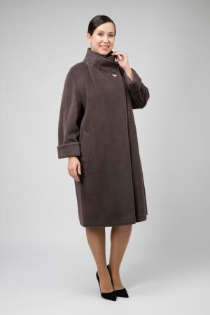 Длинное пальто из шерсти без меха для большого размера Teresa Tardia. Цвет: кофейный