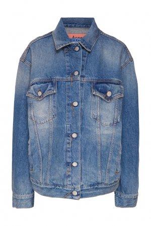 Серо-голубая джинсовая куртка Acne Studios. Цвет: синий