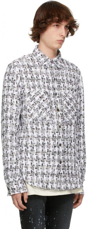 SSENSE Exclusive White & Black Tweed Oversized Shirt Faith Connexion. Цвет: 100 white