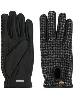 Перчатки в ломаную клетку Lardini. Цвет: серый