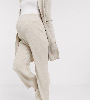 Светло-бежевые расклешенные брюки от комплекта -Бежевый Fashionkilla Maternity