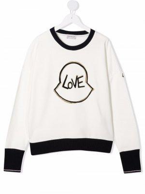 Толстовка Love с логотипом Moncler Enfant. Цвет: белый