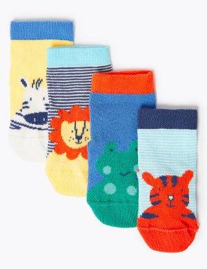Носки для новорожденного с принтом животных (4 пары) Marks & Spencer. Цвет: мульти
