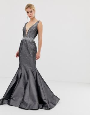Структурированное платье макси с годе -Серый Jovani