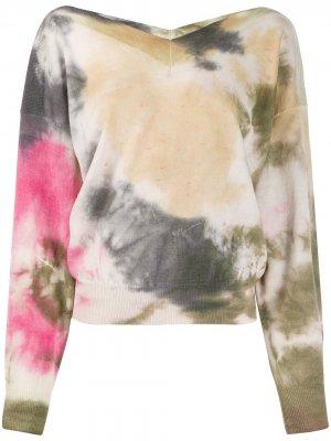 Пуловер с принтом тай-дай и логотипом MSGM. Цвет: коричневый