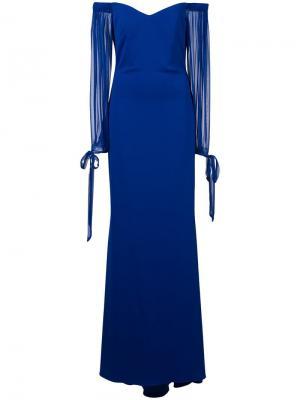 Вечернее платье с открытыми плечами Badgley Mischka