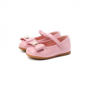 Кожаные балетки Dolce & Gabbana. Цвет: розовый