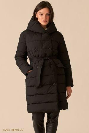 Стеганое двубортное пальто черного цвета с капюшоном LOVE REPUBLIC