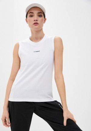 Майка adidas W GFX TANK. Цвет: белый