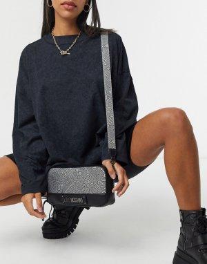 Темно-серая сумка через плечо с жаккардовым логотипом -Серебряный Love Moschino