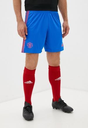 Шорты спортивные adidas MUFC A SHO. Цвет: синий