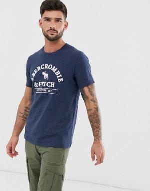 Темно-синяя футболка с логотипом -Темно-синий Abercrombie & Fitch