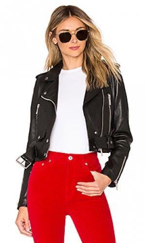 Кожаная куртка mya LTH JKT. Цвет: черный
