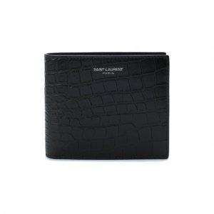 Кожаное портмоне Saint Laurent. Цвет: чёрный
