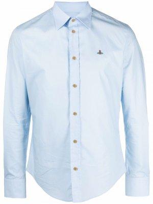 Рубашка с длинными рукавами и вышитым логотипом Vivienne Westwood. Цвет: синий