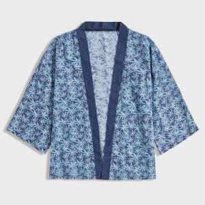 Мужская джинсовая рубашка с тропическим принтом SHEIN. Цвет: синий
