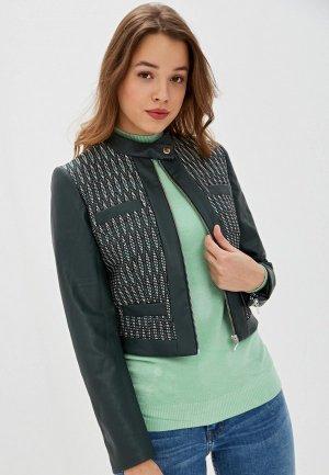 Куртка кожаная Ruxara. Цвет: зеленый
