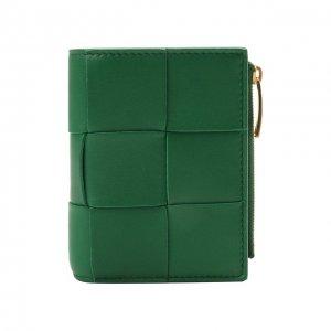 Кожаное портмоне Bottega Veneta. Цвет: зелёный