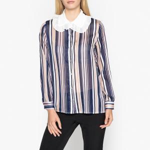 Рубашка в полоску прозрачная с большим белым воротником SISTER JANE. Цвет: разноцветный