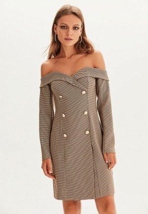 Платье Love Republic. Цвет: коричневый