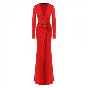 Платье-макси Philipp Plein. Цвет: красный