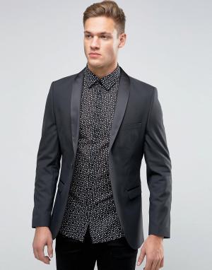 Пиджак-смокинг слим с атласными лацканами Selected Homme. Цвет: черный