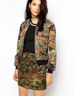 Переработанная винтажная куртка‑пилот The Ragged Priest. Цвет: зеленый