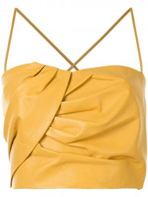 Укороченный топ с плиссировкой Michelle Mason. Цвет: желтый