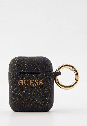 Чехол для наушников Guess Airpods Silicone case with ring Glitter/Black. Цвет: черный