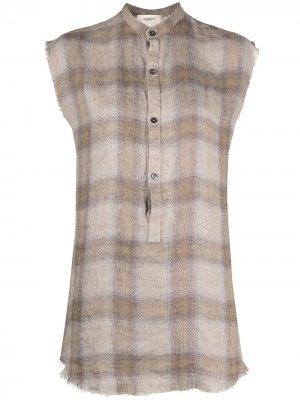 Удлиненная рубашка в клетку Barena. Цвет: нейтральные цвета