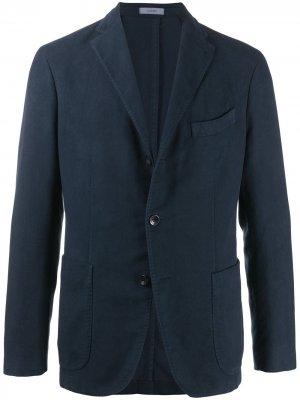 Однобортный пиджак с накладными карманами Boglioli. Цвет: синий