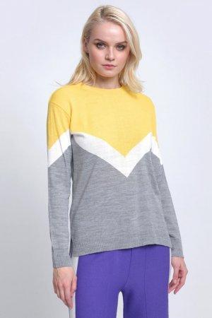 Свитер AVEMOD. Цвет: серый, желтый
