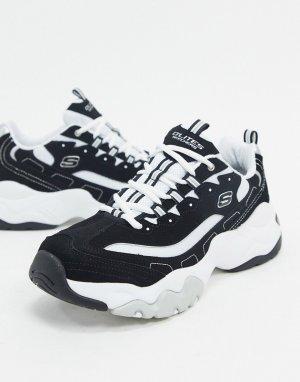 Черно-белые кроссовки на массивной подошве dlites 3.0-Черный Skechers