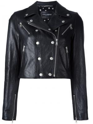 Укороченная кожаная куртка Dolce & Gabbana. Цвет: чёрный
