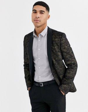 Черный приталенный бархатный пиджак-смокинг с принтом крокодиловой кожи Avail London