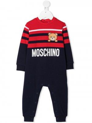 Ромпер с контрастными полосками и принтом Teddy Bear Moschino Kids. Цвет: красный