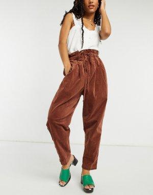 Вельветовые брюки цвета имбирного пряника Margate-Коричневый Free People