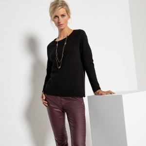 Пуловер из тонкого трикотажа с круглым вырезом и длинными рукавами ANNE WEYBURN. Цвет: слоновая кость,черный