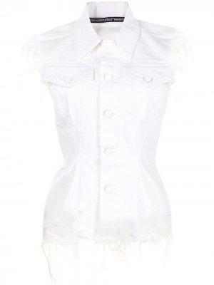 Джинсовая куртка без рукавов с эффектом потертости Alexander Wang. Цвет: белый