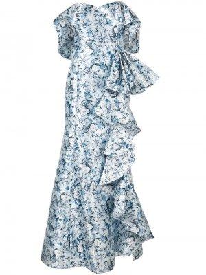 Платье с открытыми плечами и оборками Badgley Mischka
