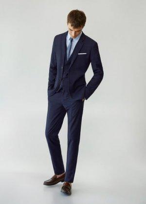 Костюмные брюки super slim fit в клетку - Paulo Mango. Цвет: темно-синий