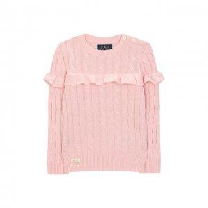 Хлопковый пуловер Polo Ralph Lauren. Цвет: розовый