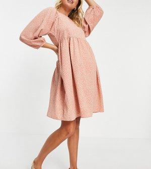 Коралловое платье с присборенной юбкой и принтом потрескавшимся эффектом -Многоцветный Pieces Maternity
