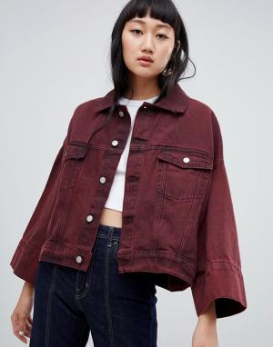 Джинсовая куртка с широкими рукавами Weekday. Цвет: красный